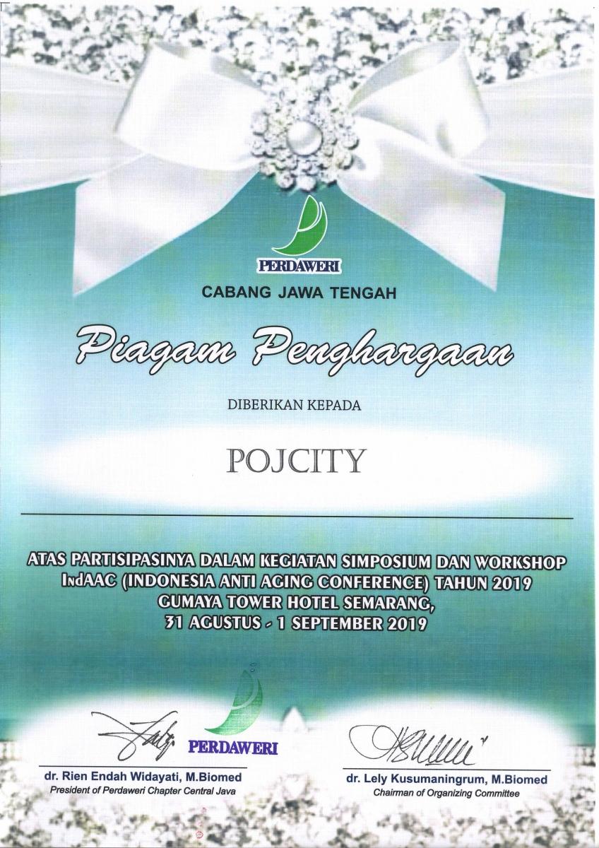 Piagam Penghargaan INDAAC 2019 untuk POJcity sebagai support acara